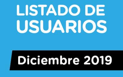 LISTADO DE USUARIOS / Diciembre 2019