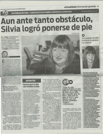 Silvia en Diario Popular